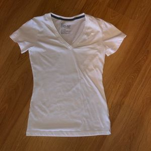 White Nike V-neck Dri-Fit Short Sleeve T-Shirt XS